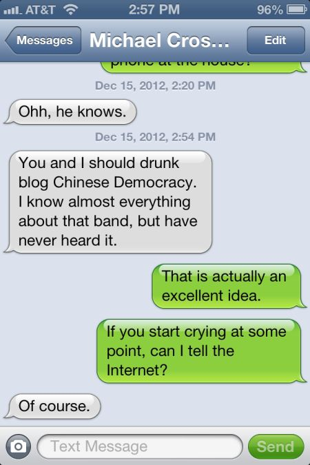 Chinese Democracy drunkblog text pic